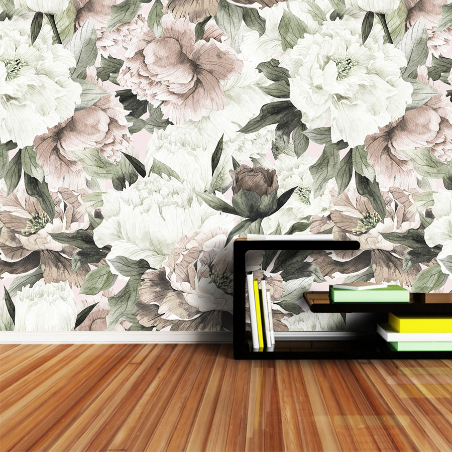 Peel And Stick Retro Peony 3d Photo Wallpaper Wall Paper Papers Home Decor Wallpapers For Living Room Background Murals Rolls