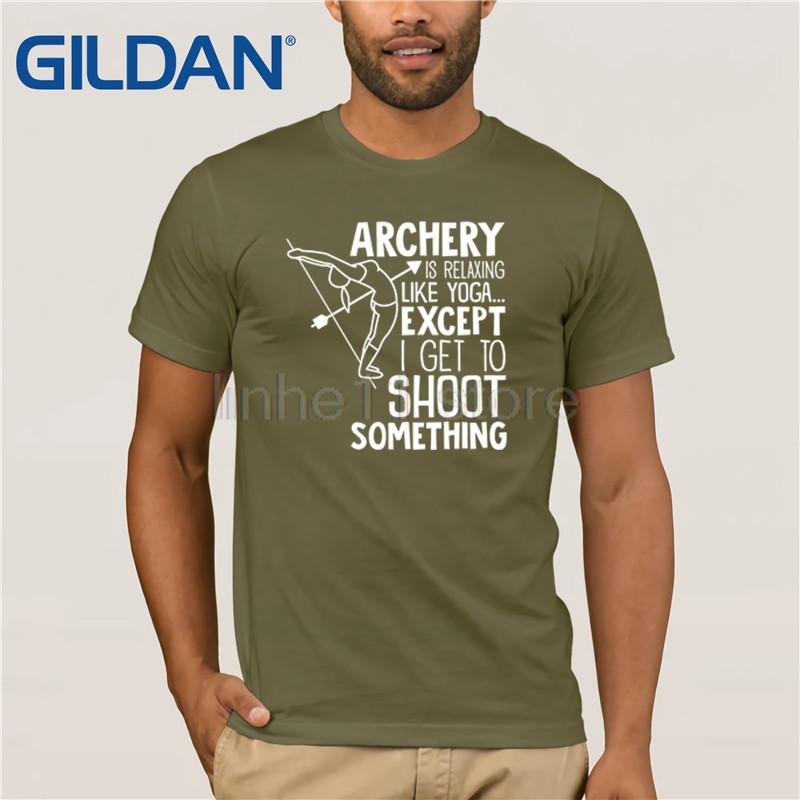 Archery TShirt Funny Pose Bow Arrow Shirt Men's T-shirt Clothes Popular T-Shirt Crewneck 100% Cotton Tees