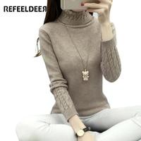2016 Spring Autumn Winter High Elastic Turtleneck Women Sweater Knit Sweater Long Sleeve Warm Pullover Female