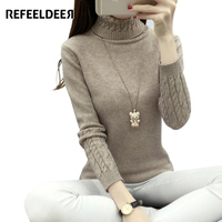 Refeeldeer Women Turtleneck Winter Sweater Women 2017 Long Sleeve Knitted Women Sweaters And Pullovers Female Jumper Tops Jersey