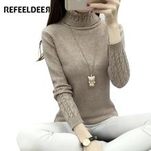 Refeeldeer Women Turtleneck Winter Sweater Women 2017 Long Sleeve Knitted Women Sweaters And Pullovers Female Jumper Tops Jersey