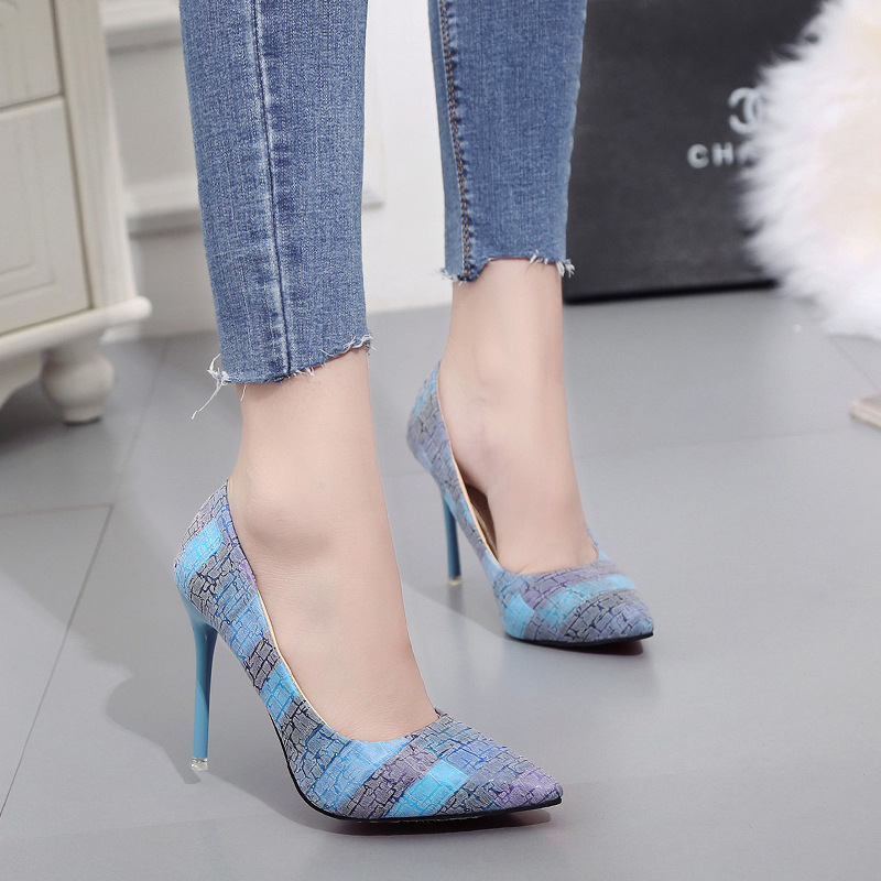 Spring moda mujer 2018 womens High-heeled shoes sexy Korean version thin heel pointed professional shoes Yasilaiya Shallow(China)