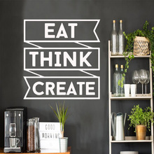 Creative Quote EAT THINK CREATE phrase Wall Stickers Removable Decor For Bedroom Living Room Decoration Decal wallstickers