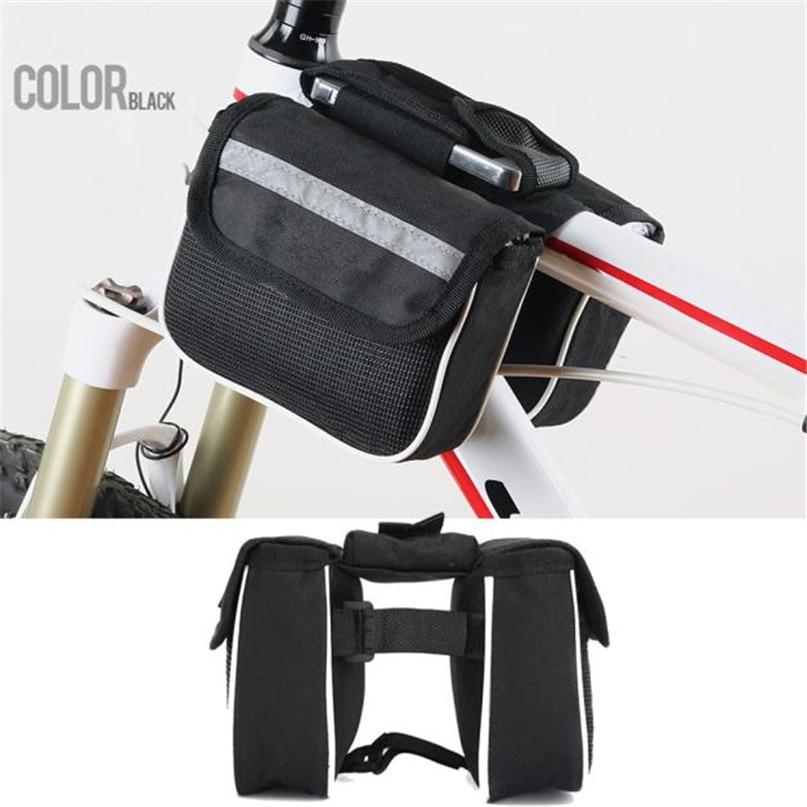 Bicycle Phone Bag Waterproof Bike Cycling Front Frame Tube Handlebar Pannier Double Pouch Phone Bag 14.5cm x 4.5cm x 11.0cm #2 (1)