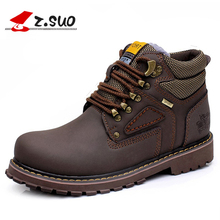 2018 Winter Genuine Leather Boots Men Big Size:38-47 Warm Ankle Boots Man High Quality Autumn Brown Safety Shoes botas hombre
