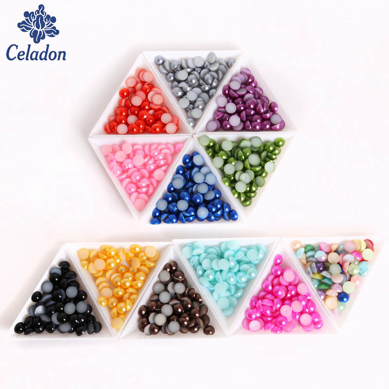 4mm Mixed Colors Half Round ABS Flatback Pearls Be Lucia Crafts 1box 240pcs//lot