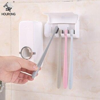 1 conjunto Dispensador de Creme Dental Automático Suporte de Escova de Dentes Suporte de Parede Escova de Dentes Organizador de Rack de Armazenamento Acessórios de Banheiro Conjunto 1