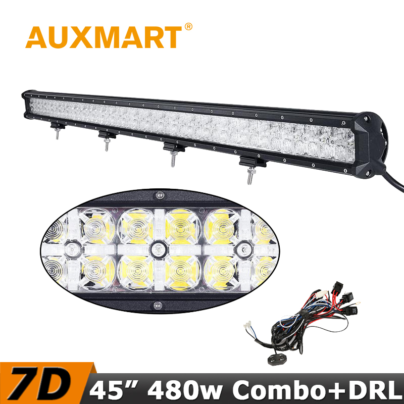 Auxmart 480W LED Light Bar 45 inch 7D CREE Chips Offroad Driving LED Bar Cross DRL Combo Beam Fit Truck RZR ATV 4x4 Tractor
