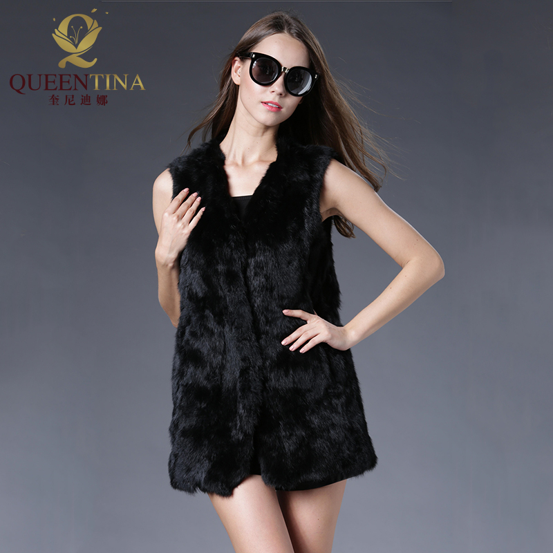 Sexy Rabbit Fur Vest Real Natural Fur Coats for Women 2018 Fashion Spring Autumn Real Fur Vest Outwear Fur Jackets High Quality