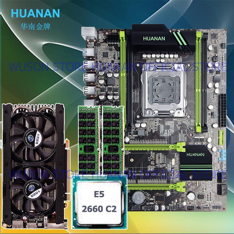 HUANAN X79 motherboard CPU RAM Video card combos 2.49 motherboard CPU <font><b>Xeon</b></font> E5 <font><b>2660</b></font> C2.RAM 16G DDR3 RECC.video card GTX760 4GD5 image