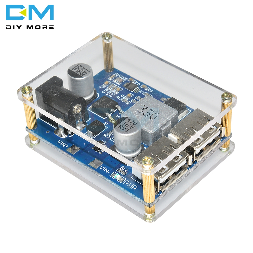 US $2 17 9% OFF DC DC 24V 12V to 5V Buck Power Supply Module 5A Power Step  Down Converter Diy Electronic PCB Board Case Shell Box Dual USB-in