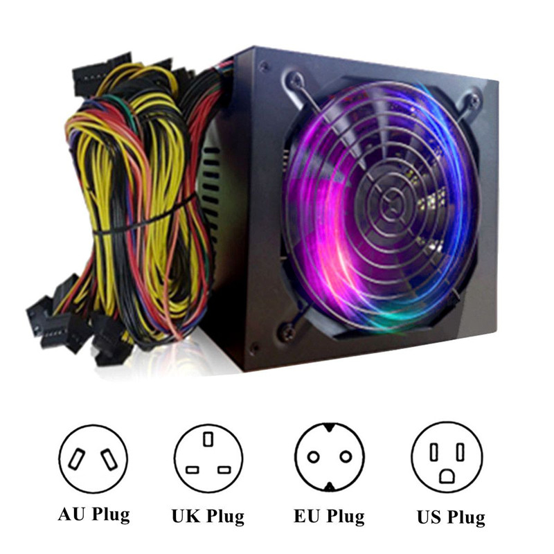 6 GPU Miner Case 1600W ATX Power Supply for ETH Rig Ethereum Coin Miner 24pin 6 SATA Interface Mining Power Match UK/US/EU Plug 1600w atx power supply 14cm fan set for eth rig ethereum coin miner mining machine power computer power
