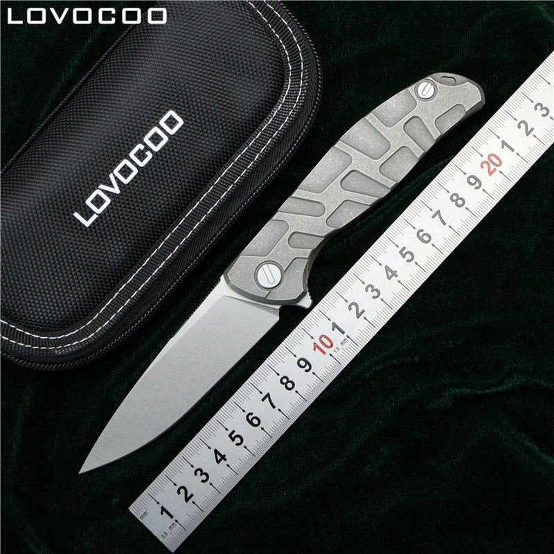 LOVOCOO NEW TOP F95 Flipper folding knife D2 steel Titanium T mode handle camping hunting pocket kitchen knives fruit EDC tools dicoria neon flipper folding ball bearing d2 tc4 titanium kitchen fruit camping hunting outdoors survive utility knife edc tools