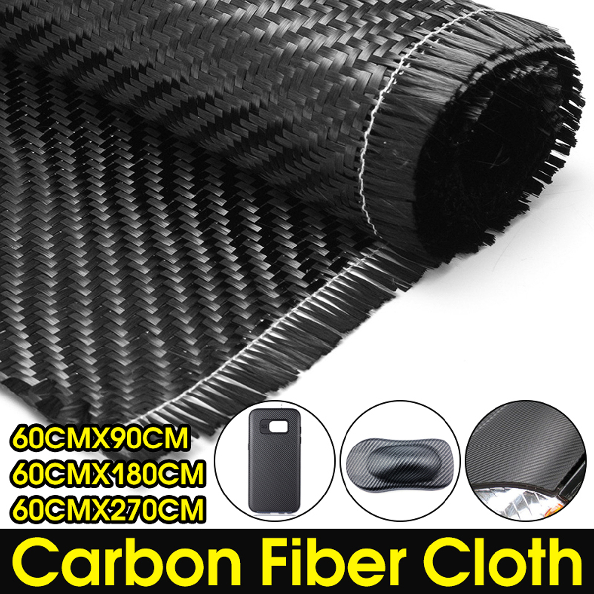 1pcs 3K 2/2 Twill Woven 0.111mm Thick 100[%] Real Carbon Fiber Fabric Carbon Yarn Weave Cloth For Car Parts And Airplane Models