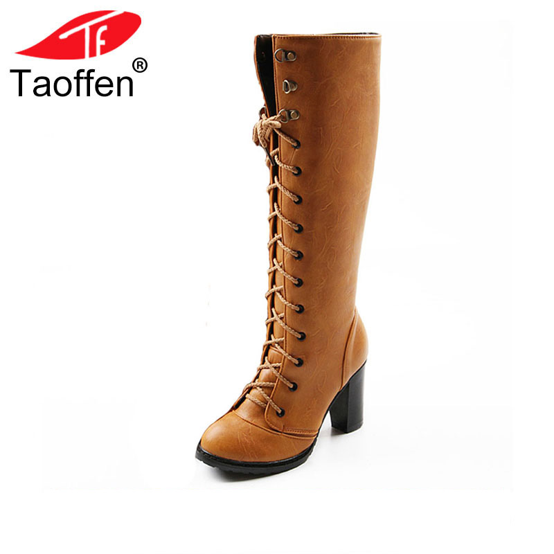 цена на TAOFFEN women high heel over knee boots ladies riding long snow boot warm winter botas heels footwear shoes QLB009 size 34-43