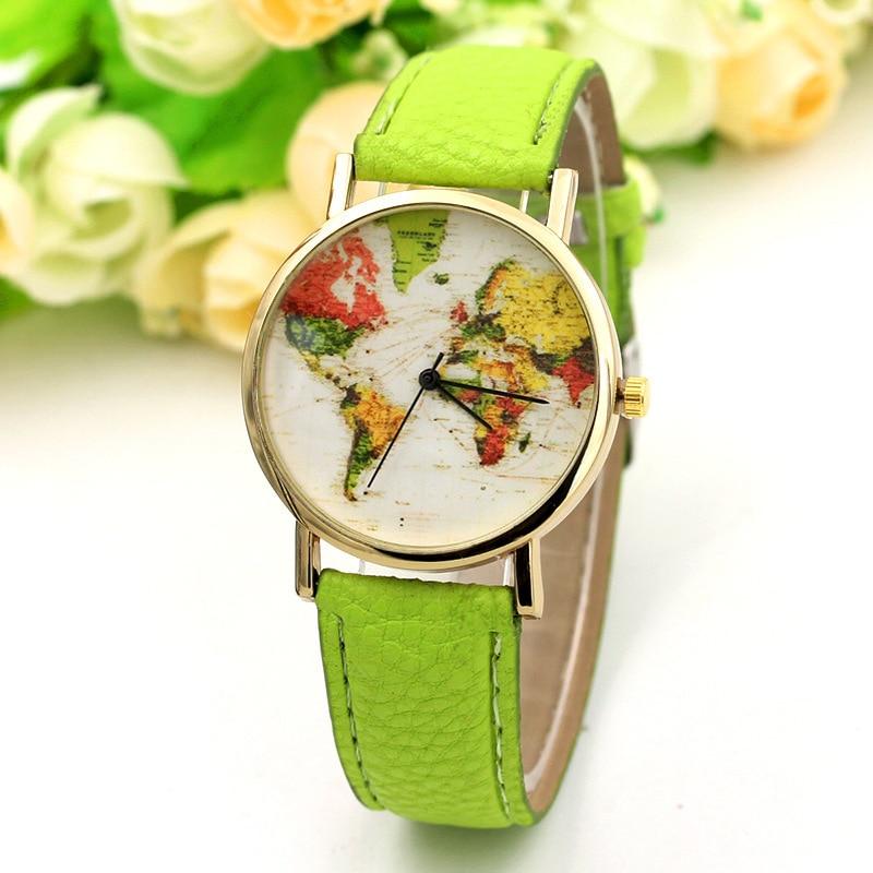 Spring Green Fashion Style Colorful World Map Printed Watch Women Casual Quartz Wrist Watches Girls' Vogue Accessories Bracelet стоимость