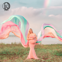 D&J New Mix Color Rainbow Chiffon Long Dress Cloak Cape Maternity Pregnant Female Dresses Maternity Photography Props