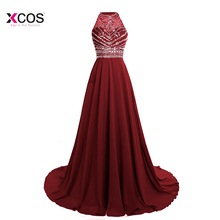 Gorgeous 2018 Chiffon Prom Dresses Long Vestido de Festa Halter A Line Crystal Beaded Floor Length Wedding Party Dress