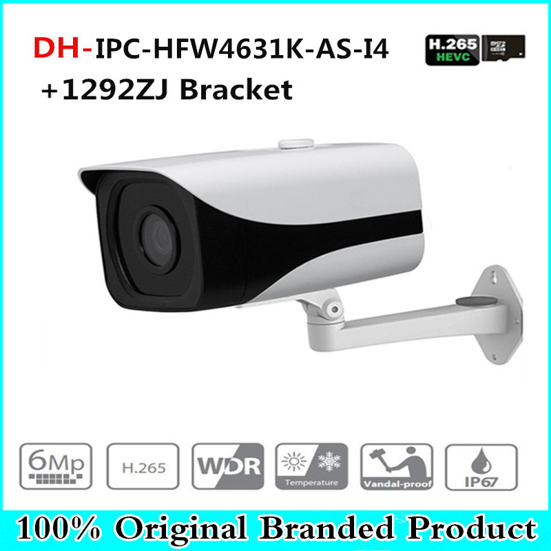 DH IPC-HFW4631K-AS-I4 6Mp Stellar Camera built-in SD Card slot Audio Alarm interface IP67 IR120M gun camera with bracket ahua 6mp ip camera ipc hfw4631k as i4 ip67 built in 4 leds ir120m with audio
