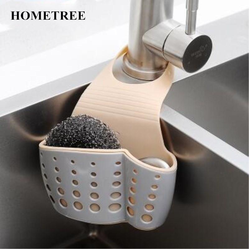 HOMETREE New Storage Basket Kitchen Sink Hanging Strainer Storage Holder Bag Sponge Draining Rack CleaningToothbrush Holder H246