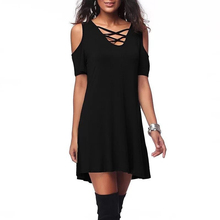 Solid Casual Mini Female Dress Sexy Hollow Out Off Shoulder Lace-Up V-Neck Low Cut Dress For Women Autumn Bottom Dress KH830484