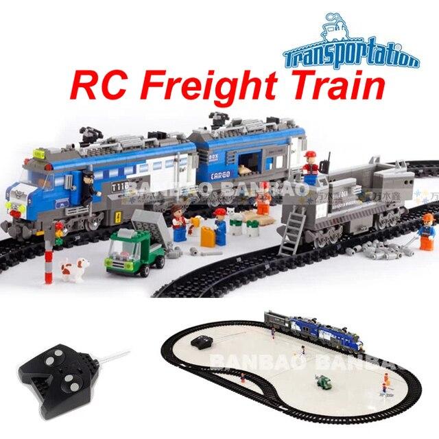 Banbao 8228 Remote Control  Freight Train 1275pcs RC Transport  Model Building Block Setsjuguetes educativos toys for children