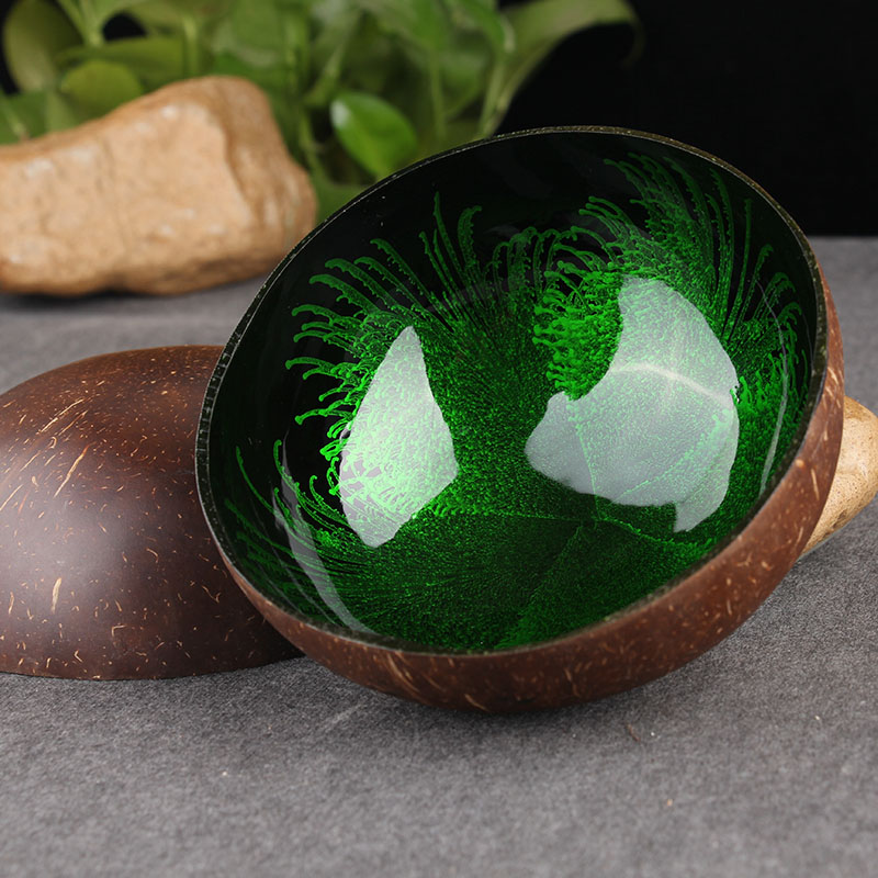 Natural Coconut Shell Bowl Feather Glaze Yoga Bazaar
