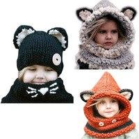 New Design Baby Hats Caps Cat Ear Fox Winter Beanie Hats Baby Kids Windproof Hats