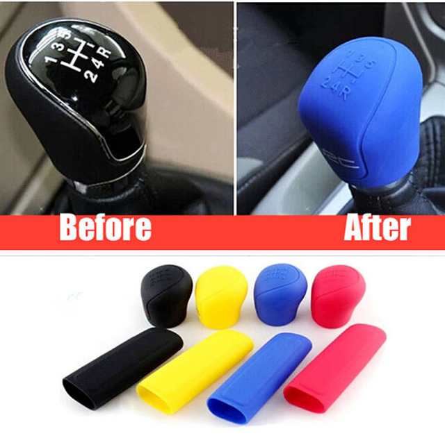 2Pcs Car Silicone Gel Gear Knob Cover Head Shift Glove Gear Shift Collars Handbrake Sleeve Car Hand Brake Covers Skin Universal