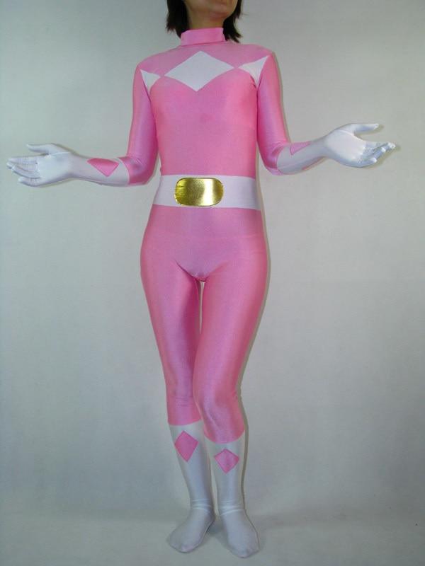Lycra Spandex Pink Kyoryu Sentai Zyuranger Costume Zentai for Halloween Superhero Zentai Cosplay Bodysuit Free Shipping