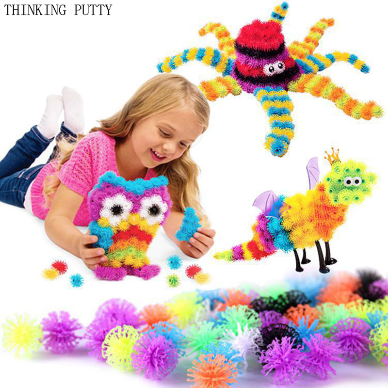 400Pcs/Set Kid Educational Assembling 3D Puzzle Toys For Children Funny Puff Ball Squeezed Ball DIY Handmade Toy Birthday Gifts