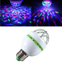 Jiguoor E27 3W Colorful Auto Rotating RGB LED Bulb Stage Light Party Lamp Disco for home decoration lighting lamps 85-265V