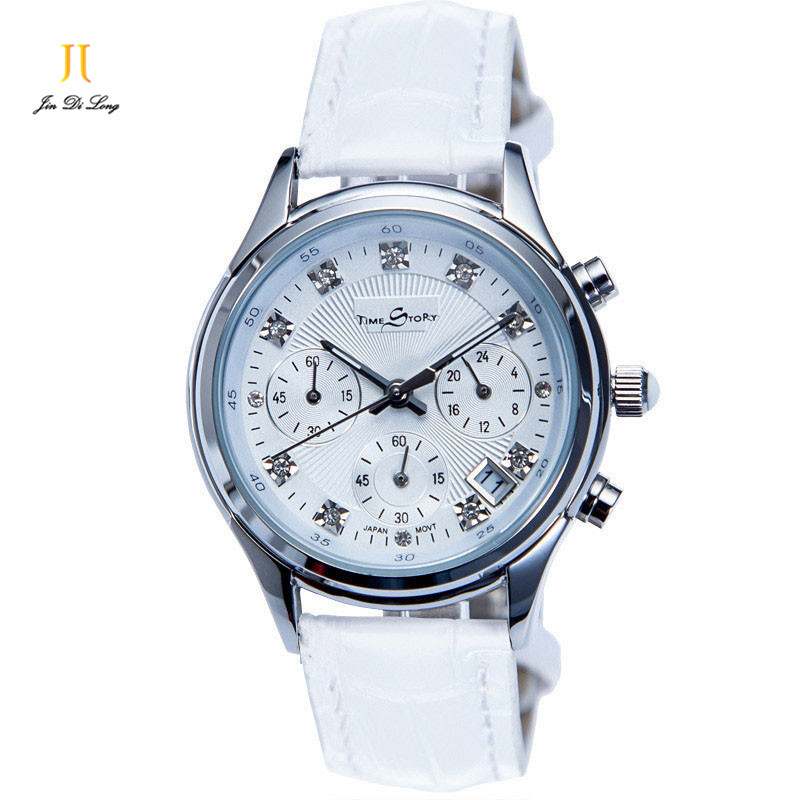 Brand Time Story Luxury Women Casual Dress Watches Ladies Quartz Analog Rhinestone Wristwatch 3 Sub-dial 6 Pointer Chronograph 2017 luxury brand time story women s necklace quartz analog rhinestone anti clockwise watches women waterproof watch