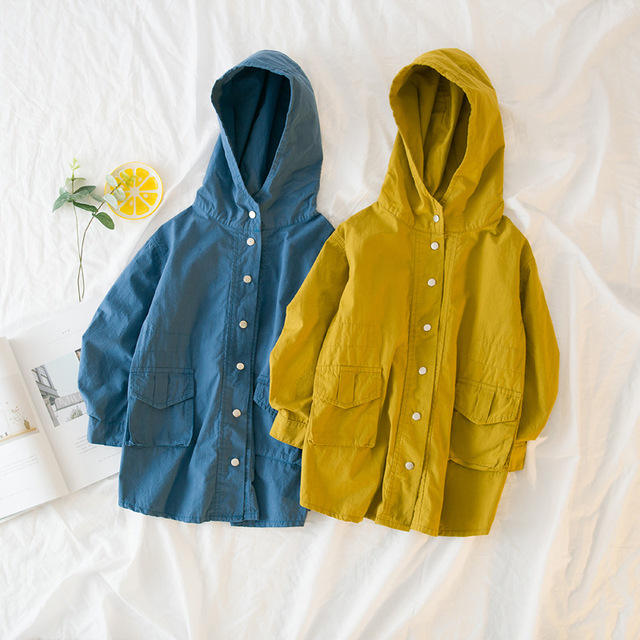 d3e1c6fab548 2018 Spring Baby Girl Jackets Long Coats Soild Hooded Windbreaker ...