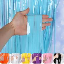 New Year Stage Background Decoration Supplies 1x3m Colorful Rain Curtain Birthday Party Wedding Background Wall Home Decoration(China)