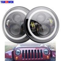 For Wrangler JK TJ Led Headlight 7 Inch Led Headlight White DRL Amber Signal Angel Eyes Lights For Jeep JK Hummer H1 H2
