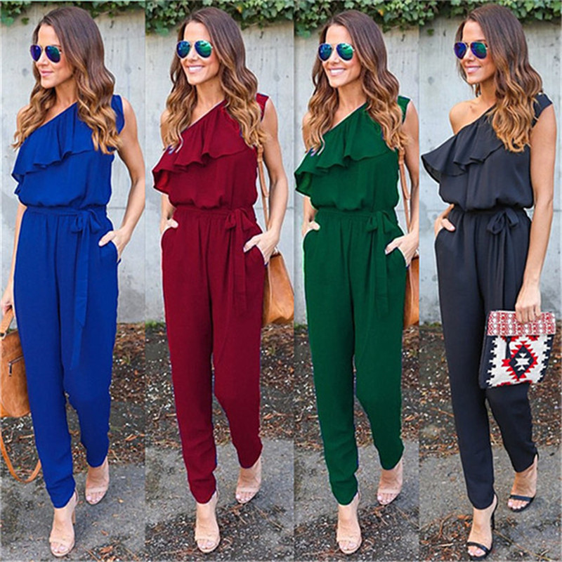 Summer Chiffon Sexy Fashion Oblique Neck Off Shoulder   Jumpsuits   Sleeveless Pockets Skinny Thin belt Splice Rompers Vestido Lorgo