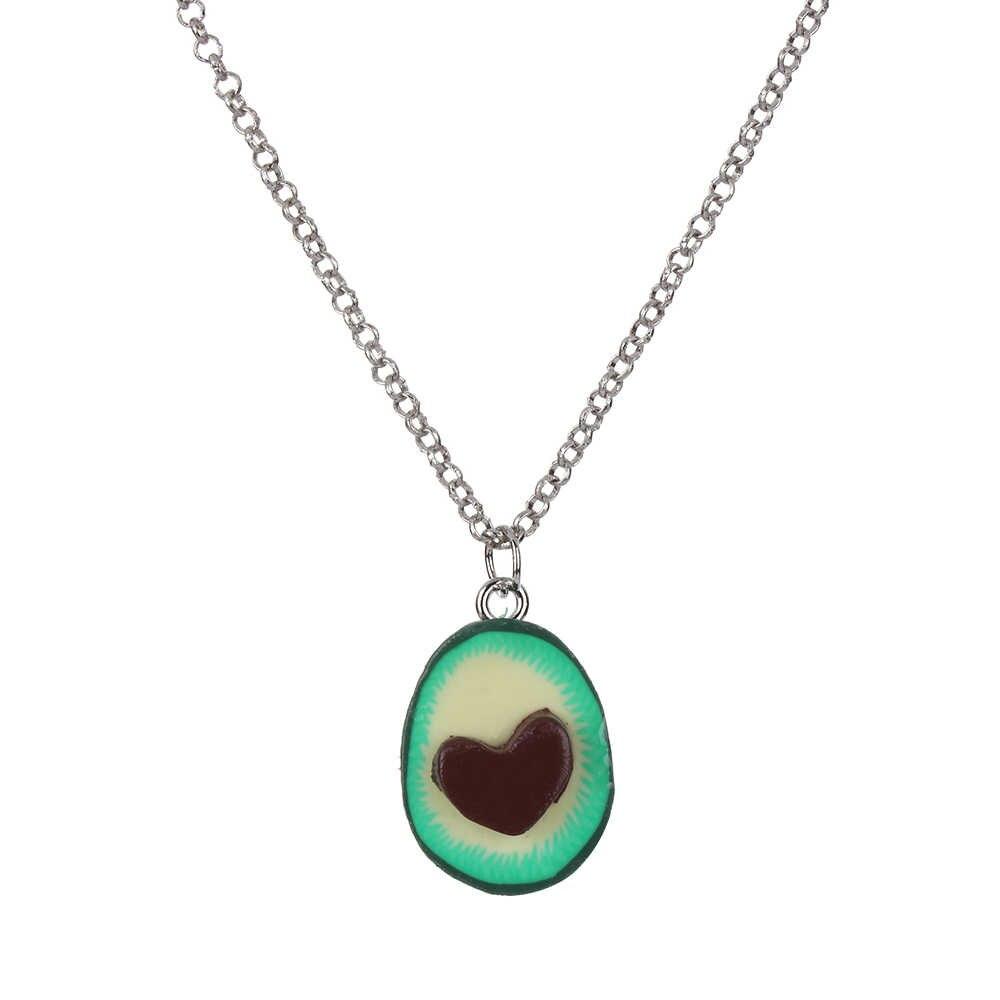 1 قطعة جديد أزياء الأخضر الأفوكادو الصداقة قلادة قلادة القلب غير المتماثلة Bff صديقة صديقها هدية عيد الحب هدية