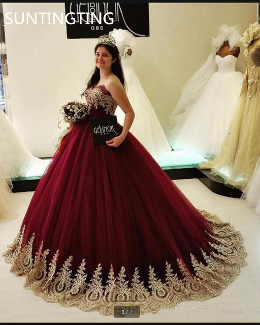 b65f893b2da 2019 new arrival burgundy ball gown gold lace apliques prom dress princess  beaded empire maternity prom gowns best selling