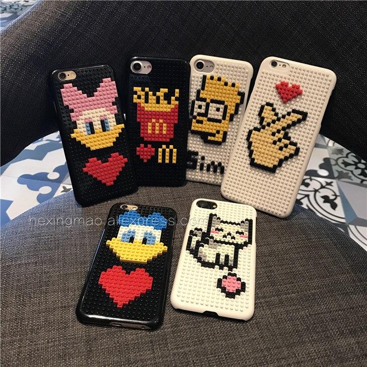 Phone Pouch Cartoon Cute Little Bear Diy Legos Blocks Brick Plastic Phone Case For Phone 6 6s 6plus 7 Plus Moon Astronaut Cover 3d