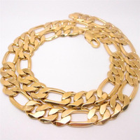 60cm Men S 18K Yellow Solid Gold Filled Figaro Necklace Chain Link Flat Hammered Wide 12mm