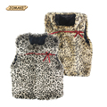 New Brand Children O-neck Waistcoat Leopard Design Girls Vests Kids Warm Vest Girl Jacket Coat Faux Fur Vests for Girls with Bow