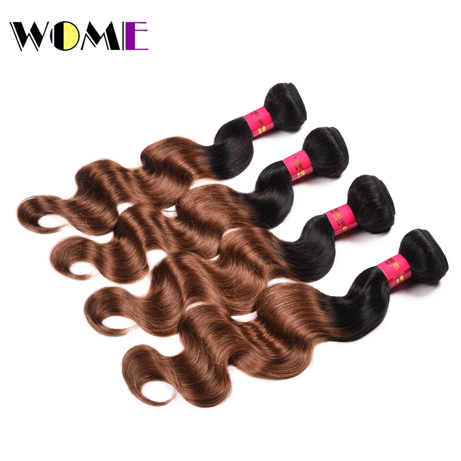 Hair Extensions & Wigs Wome Ombre Hair Bundles Mongolian Body Wave Brown Color T1b/30 Bundle Deals Hair Extension Double Weft Hair Weave Non Remy With Traditional Methods