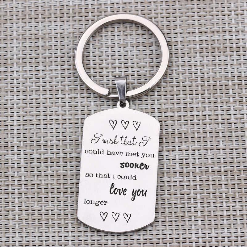 """Wish I Meet You Sooner""Keychain Waiting Love Anniversary Long Distance Love Memorial Jewelry Keyring Boyfriend Girlfriend Gift"