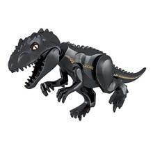 лучшая цена Dinosaur jurassic world Park Tyrannosaurus Indominus Rex Indoraptor Building Blocks Dinosaur Figures Bricks Toys