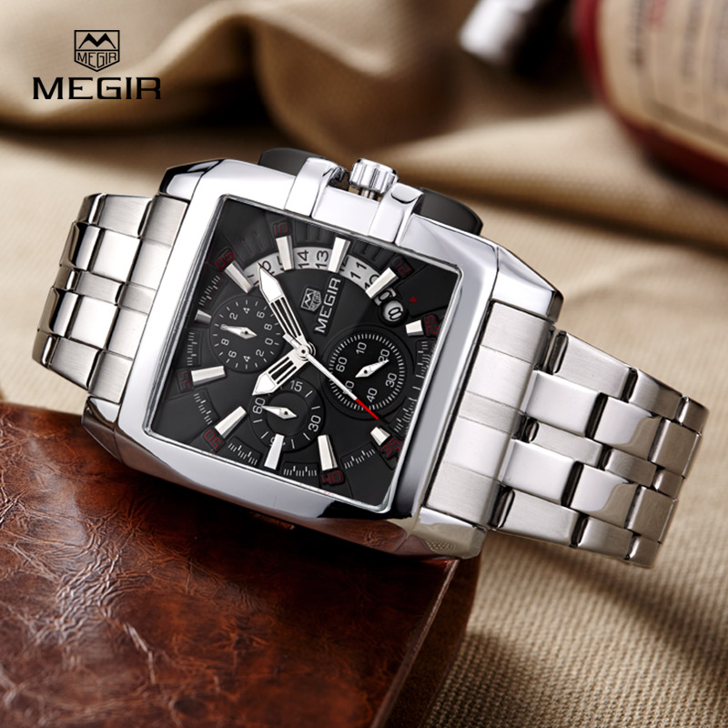 Megir Business Stainless Steel Best Quartz Wrist Mens Watches Top Brand Luxury Army Clock Male Quartz-Watches reloj hombre 2016 megir mens watches top brand luxury fashion business clock man famous watches stainless steel male quartz watch montre homme new