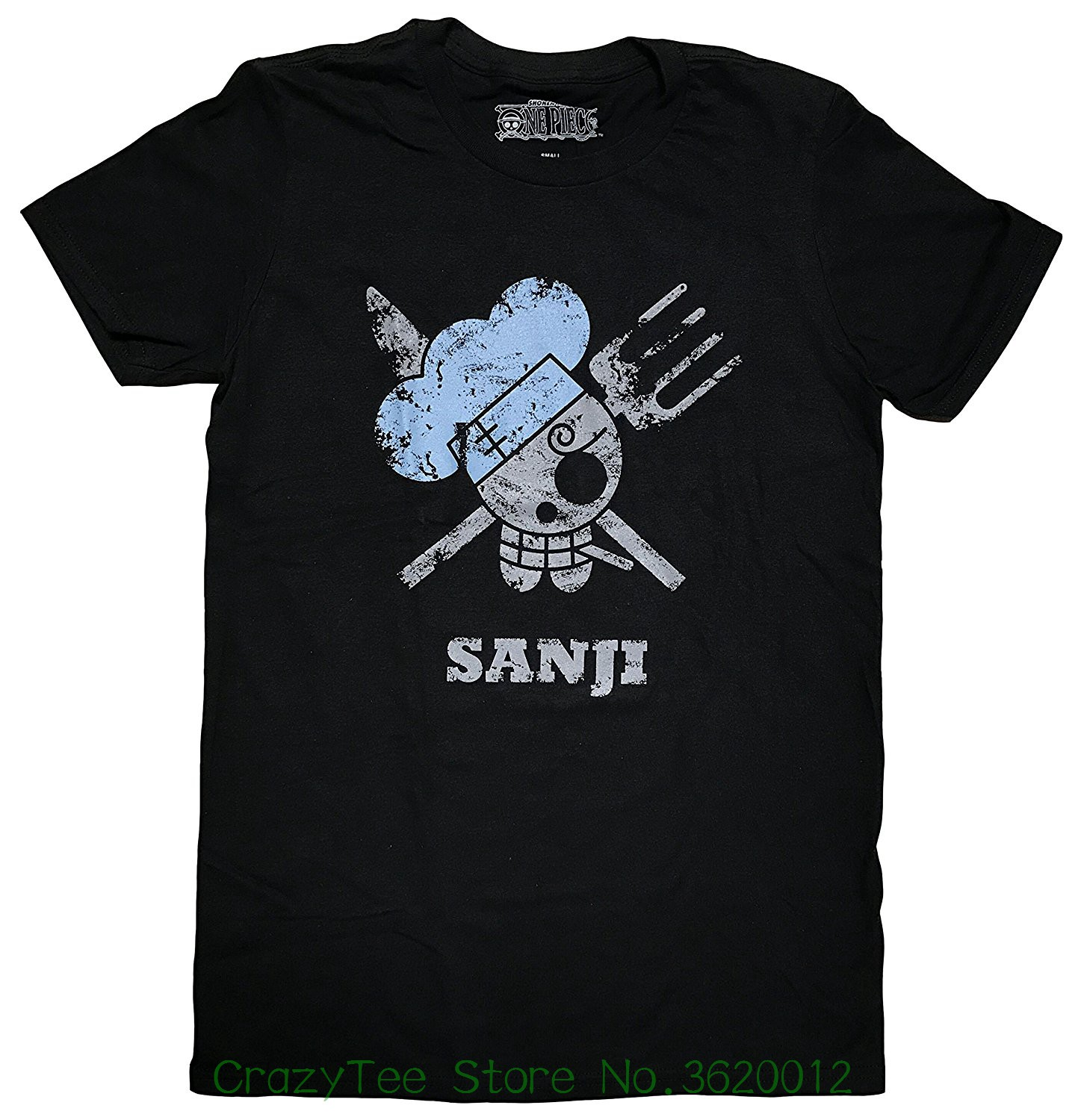 2018 Summer T Shirt One Piece : Vinsmoke Sanji Pirates Flag Distressed Men's Screen Print T-shirt