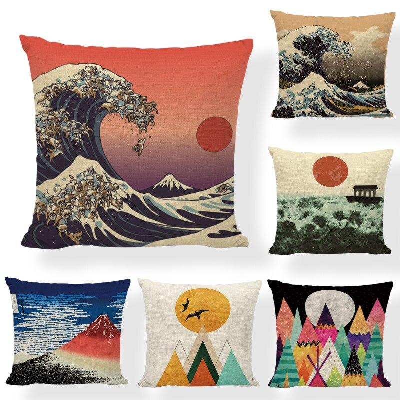 Creative Japan Traditional Painting Wave Sea Cushion Cover Brand 45x45cm Mountain Sun Striped Living Room Office Decor Furniture cushion