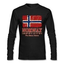 Поп норвежский флаг винтажный вид футболка ТВ мужская одежда Хлопок Crewneck с длинным рукавом пользовательские мужские футболки