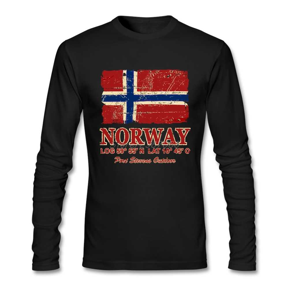 Pop Norway Flag Vintage Look T Shirt Tv Men's Clothes Cotton Crewneck Long Sleeve Custom  Men Shirts